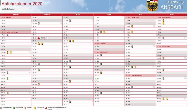 Abfuhrkalender 2020 Wittelshofen